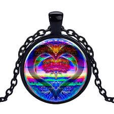 Wholesale Cabochon Glass Black  Chain Pendant Necklace ,Rainbow Kingdom Heart
