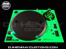 1 Custom Florescent Green Black Technics SL 1200 mk5 green leds powder coat etch