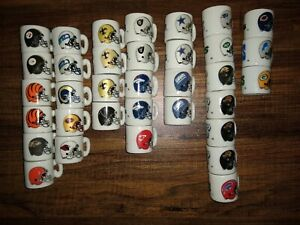 NFL Collectible Porcelain Mini Mugs Lot of 34 With Duplicates Rare