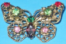 VINTAGE PIN LATTICE Open Back GLASS Faceted COLORFUL Rhinestone Butterfly Brooch