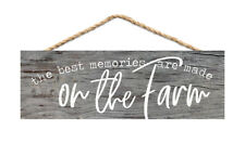 Best Memories on Farm Rustic Grey 10X3.5 Inch Pine Wood Slat Hanging Wall Sign