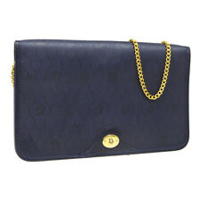 Christian Dior Honeycomb Double Chain Shoulder Bag Purse Navy PVC Leather R11872