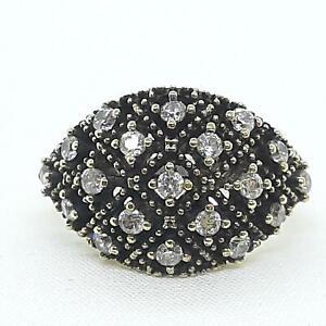Deco 1.15ctw Diamond Cut White Sapphire 14K Yellow Gold 925 Sterling Silver Ring
