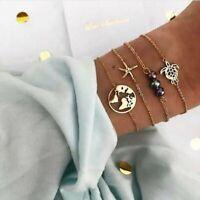Bohemian Women Crystal Shell Beaded Tassels Adjustable Chain Bangle Bracelet Set
