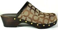 Coach Womens Clogs Mules Slides Heels Brown Beige Casual Comfort 6.5