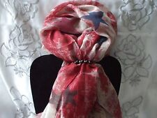 Scarf + Scarf Ring Gift Set Red Star + Black & Silver Ring