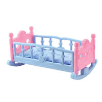 Baby Doll Cradle Crib Rocking Bed Playset for Mellchan Doll Decorative Furniture