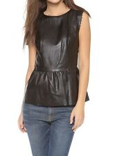 MADEWELL leather scallop peplum top $395 Black XS 05183 NEW