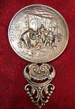 Vintage Silver Plated Repousse Round Small Hand Mirror Hans Jensen Denmark Vtg