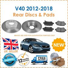 For Volvo V40 2012-2018 Two Rear Solid 280MM Brake Discs & Brake Pads Set New