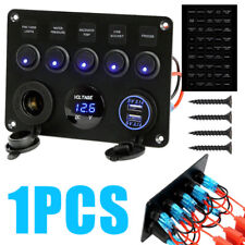 5 Gang Blue LED Toggle Switch Control Panel USB Socket Car Marine Boat 12V/24V
