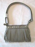 Womens Gray BOHO CHIC Faux Leather Shoulder Bag Zipper Fringe Adjustable Strap