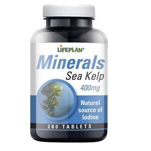 Lifeplan Minerals Sea Kelp 400mg 280 Tablets Natural Source of Lodine