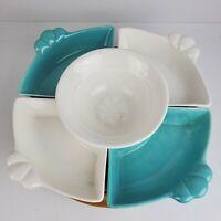 Vintage Mid Century California Pottery Lazy Susan Chip Dip 6 Piece USA Set
