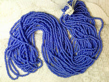 Vtg 1 HANK BLUE LUSTER ROCAILLE SEED BEADS 10/0 glossy pearly #052112o