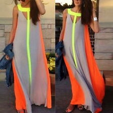 Sexy Womens Ladies Boho Summer Beach Evening Party Long Maxi Chiffon Dress AU