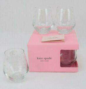 Kate Spade Larabee Dot Stemless Wine 12 oz Crystal Glasses LENOX  Set of 4