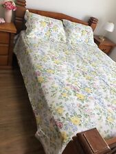 New 3 Pcs Blue Yellow Floral Patchwork Quilt Bed Coverlet Queen Size 100% Cotton