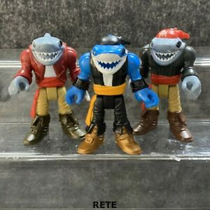 3x Fisher Imaginext Pirate Adventures Shark Pirate Captain 2.5'' Figure Xmas Toy