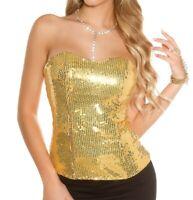 TOP BUSTINO ORO donna corsetto paillettes sottogiacca dorato canotta maglia AZ53