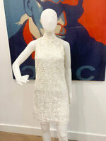 Designer SCANLAN THEODORE +  Slip Size 6 Crochet Lace Dress
