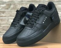 NIKE AIR FORCE 1 TYPE CASUAL SHOES BLACK BLUE PLATINUM AT7859-001 N. 354 NEW