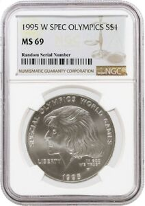 1995 W $1 Special Olympics Commemorative Silver Dollar NGC MS69