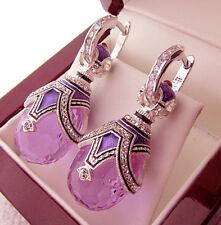 SALE ! GORGEOUS RUSSIAN EARRINGS handmade of STERLING SILVER 925 ENAMEL AMETHYST