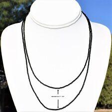 "AAA-Gem Grade Black Tourmaline Necklace Adjustable 17"" - 19.5"" 925 Silver 2.5mm"