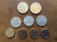 Lot Pièces Françaises * 5 x 1 Francs + 4 x 0,50 Cts * Années Diverses