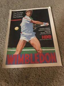 Vintage 1987 WIMBLEDON ON HBO Poster Print Ad 1980s TENNIS RARE