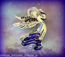 Brooch Pin~Mothers Day Gift For Mom Silver Angel Dark Purple Enamel Rhinestone