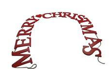 Gisela Graham Red Merry Christmas Garland - Classic Hanging Wooden Garland