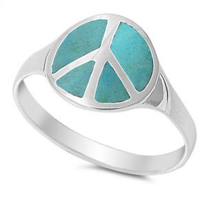 Turquoise Peace Sign Polished Cute Ring New .925 Sterling Silver Band Sizes 4-10