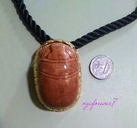 Scarab Kenneth Jay Lane Necklace Pendant Designer Signed Ceramic Gold Egyptian