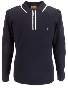 Gabicci Vintage Lineker Navy Blue Knitted Polo