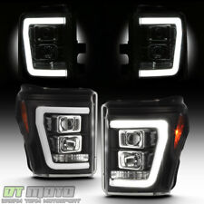 Black 2011-2016 Ford F250 F350 SuperDuty LED Light Tube DRL Projector Headlights