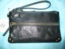 THE SAK Sanibel Charging Wristlet Wallet Bag BLACK LEATHER $89 RV Phone Battery