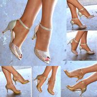Ladies Diamante Mid Heel Evening Shoes Ankle strap Party Peep toe Sandals size