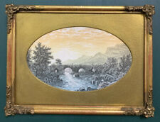 Antique Victorian Watercolour Painting In Gold Gilt Frame