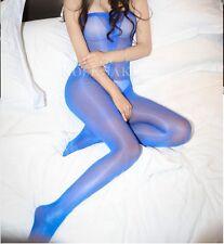 Body Bodysuit Playsuit offen Pantyhose Blau Blue transparent unisex glänzend