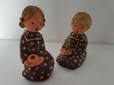 2 Singer Engel braun Sterne 14cm/15 cm hoch Engel mit Kerze Jullar Spain