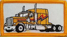 YELLOW TRUCK Color  Iron On Patch Truck Driver Emblem Gold  Border