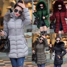 UK Womens Ladies Puffer Jacket Padded Coat Long Winter Coat Parka Zip Up Hoodie