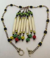 COLORFUL SPRING GOLD-TONE BEADED CHAIN NECKLACE WITH WHITE BONE ACCENTS 17 INCH