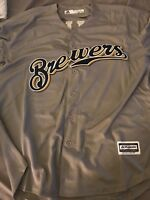 Christian Yelich Milwaukee Brewers Majestic Cool Base Jersey Gray Men's M-2XL