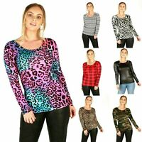 NEW LADIES WOMEN'S LONG SLEEVE SCOOP NECK PRINTED SHIRT TOP 8-22
