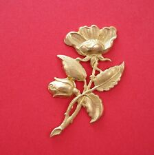 Large Flower Leaf Branch Embellishment Raw Brass Stamping Pendant .(1 Pc)