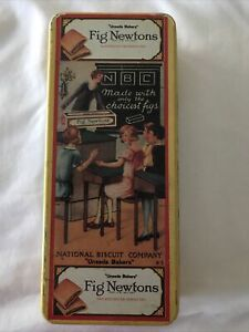 TIN FIG NEWTONS COLLECTIBLE VTG TIN BOX NATIONAL BISCUIT COMPANY UNEEDA BAKERS