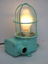 Blue Maritime Salvaged Passageway Bulkhead Light Wall Mount Lamp Navigation